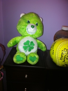 My Care Bear chilling with my senior year softball